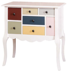 Casa Padrino Designer Dresser with 7 Drawers White / Multicolor 80 x 48 x H. 82 cm - Country style furniture