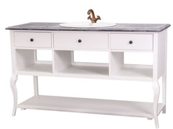 Casa Padrino Country Style Washbasin Vanity Unit Without Sink Gray / White - Bathroom Cabinet