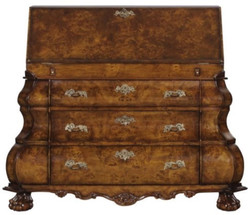Casa Padrino Luxury Art Nouveau Writing Dresser with 18 Drawers Brown / Silver 100 x 53 x H. 120 cm - Luxury Quality