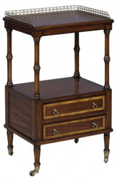 Casa Padrino Luxury Art Nouveau Side Table with 2 Drawers Dark Brown / Gold 42 x 33 x H. 74 cm - Telephone Table with Wheels
