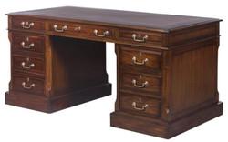 Casa Padrino Luxus Schreibtisch mit Tür und 6 Schubladen Braun / Silber 160 x 80 x H. 79 cm - Büromöbel