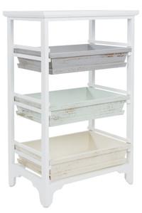 Casa Padrino Country Style Shelf Cabinet White / Multicolored 54 x 32 x H. 86 cm - Handmade Shabby Chic Shelf with 3 Compartments – Bild 1