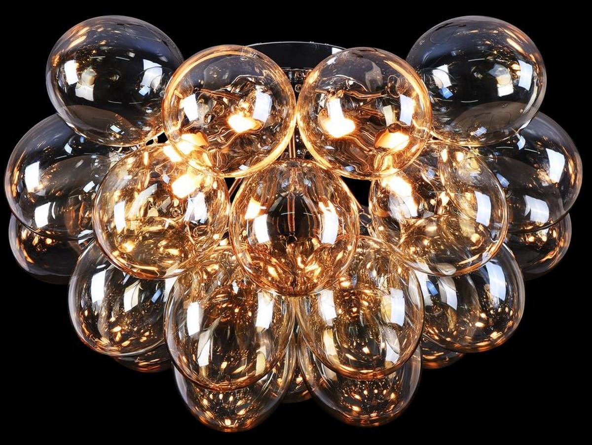Casa Padrino Wohnzimmer Deckenleuchte Bernsteinfarben / Silber Ø 50 x H. 32  cm - Moderne Deckenlampe