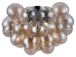 Casa Padrino living room ceiling lamp amber / silver Ø 50 x H. 32 cm - Modern Ceiling Light