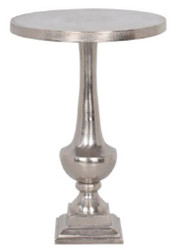 Casa Padrino Baroque Style Side Table Silver Ø 39 x H. 55 cm - Round Aluminum Table