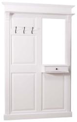 Casa Padrino Landhausstil Garderobe mit Schublade Weiß 131 x 19 x H. 210 cm - Landhausstil Möbel