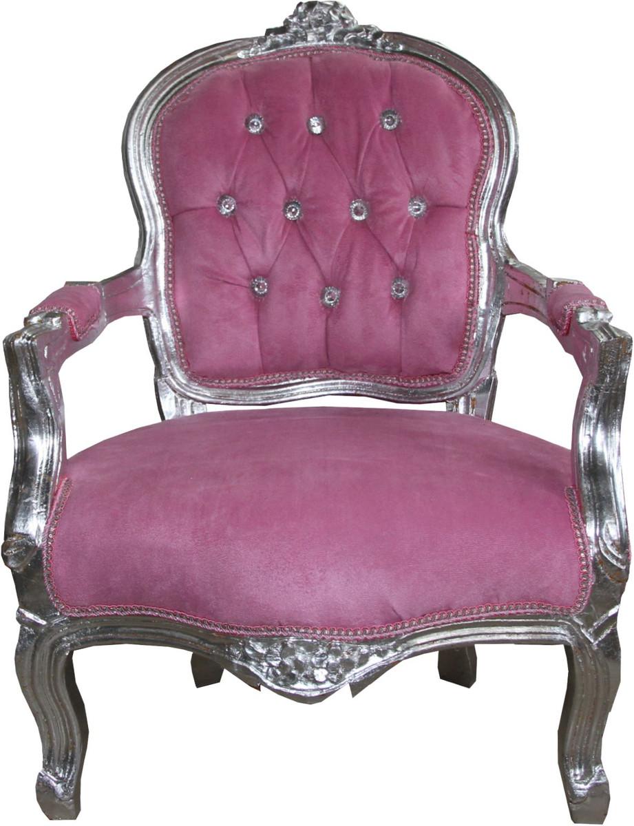Casa Padrino Barock Kinder Stuhl Rosa / Silber mit Bling Bling Glitzersteinen - Kindermöbel 1