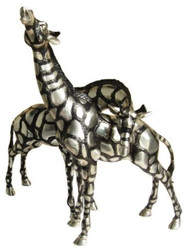 Casa Padrino Giraffe Bronze Figurines Set Silver / Black 40 x 9 x H. 52 cm - Luxury Quality