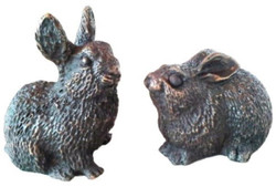 Casa Padrino luxury decorative bronze rabbits 10 x 6 x H. 9 cm - Bronze Figures Set