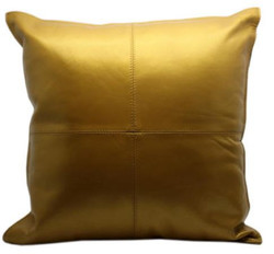 Casa Padrino Leather Decorative Pillow Gold 40 x 40 cm - Luxury Quality