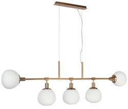 Casa Padrino Hanging Lamp Brass / White 120 x H 37.3 cm - Modern Metal Hanging Light with Frosted Glass