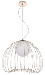 Casa Padrino Hanging Lamp Gold / White Ø 50 x H. 41 cm - Luminaire Made of Curved Metal Rods