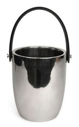 Casa Padrino luxury wine cooler with leather handle silver / black Ø 19 x H. 23 cm - Hotel & Restaurant Accessories