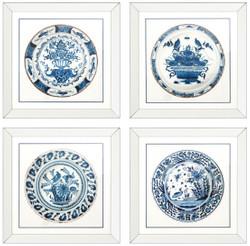 Casa Padrino Bilder / Kunstdruck 4er Set Antike Chinesische Porzellan Teller Weiß / Blau 80 x H. 80 cm - Luxus Wanddekoration