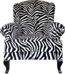 Casa Padrino Luxus Designer Chesterfield Ohren Sessel Zebra - Club Möbel - Limited Edition