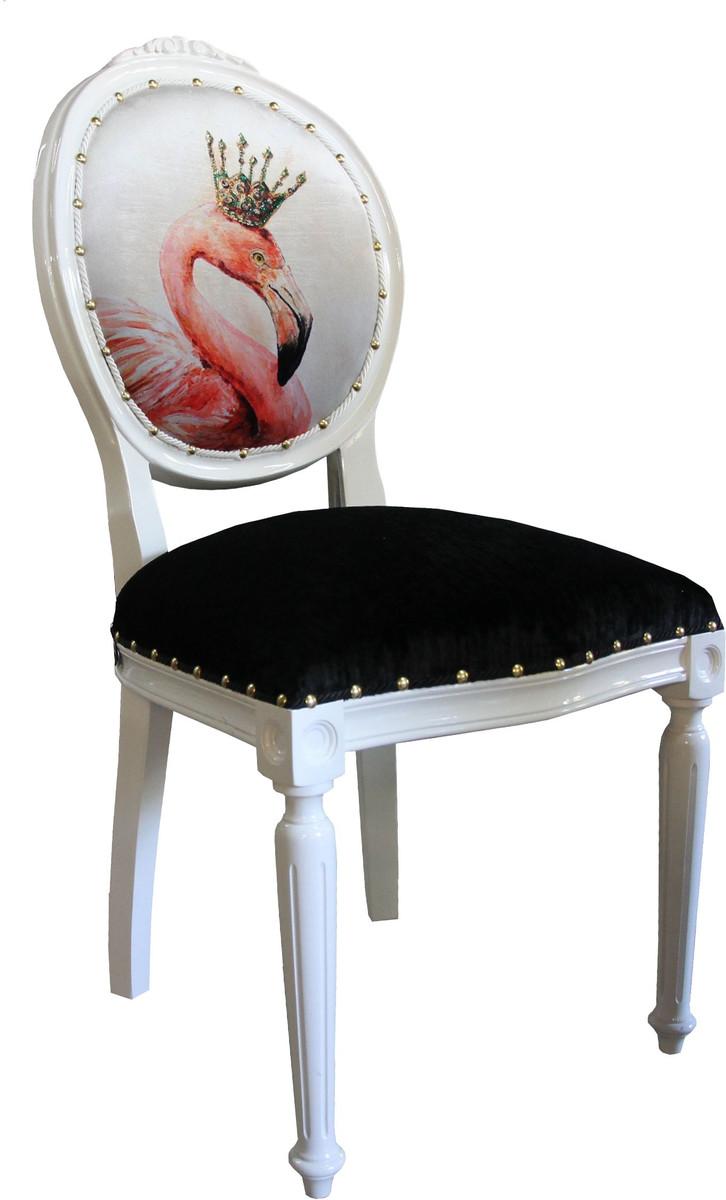 Casa Padrino Barock Luxus Esszimmer Stuhl Ohne Armlehnen Flamingo Mit Krone Und Mit Bling Bling Glitzersteinen Designer Stuhl Limited Edition