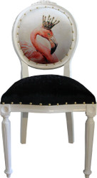Casa Padrino Baroque Luxury Dining Chair Without Armrests Flamingos With Crown And With Bling Bling Rhinestones - Designer Chair - Limited Edition