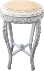 Casa Padrino Baroque Side Table Round White / Cream Marble Top Antique Look - 71 x 42 cm