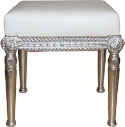 Casa Padrino Baroque Antique Style Stool in White / Silver W 56 cm, H 54 cm - Baroque stool