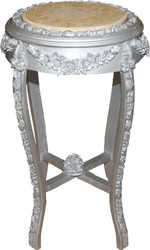 Casa Padrino Baroque Side Table Round silver / Cream Marble Top Antique Look - 70 x 42 cm