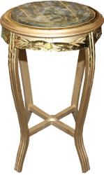 Casa Padrino Baroque Side Table Round Gold / Green Antique Look - 68 x 40cm