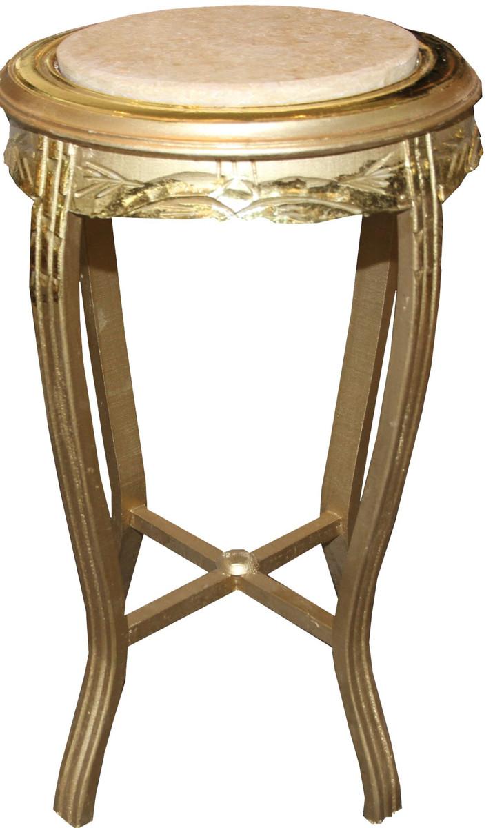 Casa padrino barock beistelltisch rund gold creme antik for Beistelltisch 70 x 40