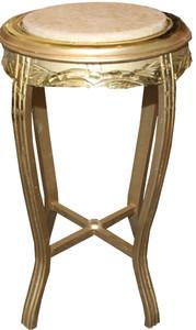 Casa Padrino Baroque Side Table Round Gold / cream Antique Look - 70 x 40cm – Bild 1