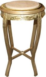 Casa Padrino Barock Beistelltisch Rund Gold /Creme Antik Look - 70 x 40cm