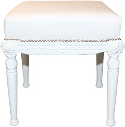 Casa Padrino Baroque Antique Style Stool in White / White W 56 cm, H 54 cm - Baroque stool