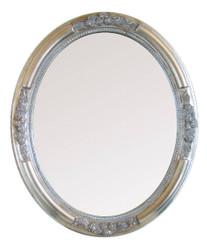 Casa Padrino Barock Wandspiegel Oval Silber Höhe 57 cm, Breite 47 cm - Edel & Prunkvoll - Vintagelook - Handgefertigt
