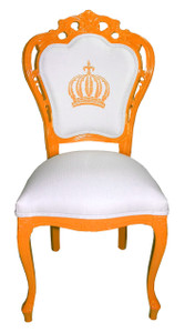 Pompöös by Casa Padrino Luxury Baroque Dining Chair Orange / White - Pompööser Baroque Chair designed by Harald Glööckler – Bild 1