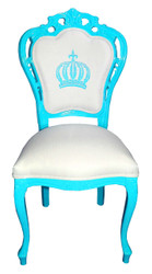 Pompöös by Casa Padrino Luxury Baroque Dining Chair Turquoise / White - Pompööser Baroque Chair designed by Harald Glööckler