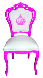 Pompöös by Casa Padrino Luxury Baroque Dining Chair Magenta / White - Pompööser Baroque Chair designed by Harald Glööckler