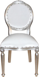 Casa Padrino Baroque medallion luxury dining chair without armrests in white / silver - Limited Edition