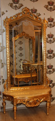 Casa Padrino Baroque Mirror Console - Wardrobe console gold with marble top and beautiful Baroque decorations on the mirror glass Mod6 - antique look