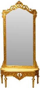 Casa Padrino Barock Spiegelkonsole - Garderobenkonsole Gold mit Marmorplatte und mit schönen Barock Verzierungen auf dem Spiegelglas Mod7 - Antik Look – Bild