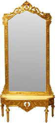 Casa Padrino Baroque Mirror Console - Wardrobe console gold with marble top and beautiful Baroque decorations on the mirror glass Mod8 - antique look