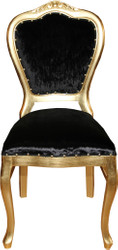 Casa Padrino Baroque Luxury Ladies Chair Black / Gold - Ladies Dressing Table Chair - Limited Edition