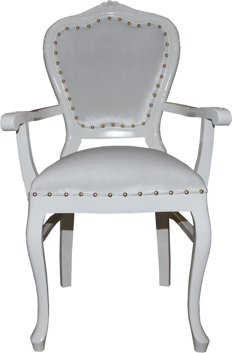 Casa Padrino Barock Luxus Damen Stuhl mit Armlehnen Weiss / Weiss - Damen Schminktisch Stuhl - Limited Edition 1