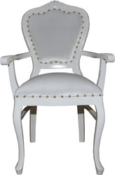 Casa Padrino Baroque Luxury Ladies Chair with Armrests White / White - Ladies Dressing Table Chair - Limited Edition