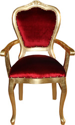 Casa Padrino Baroque Luxury Ladies Chair with Armrests Bordeaux / Gold - Ladies Dressing Table Chair - Limited Edition