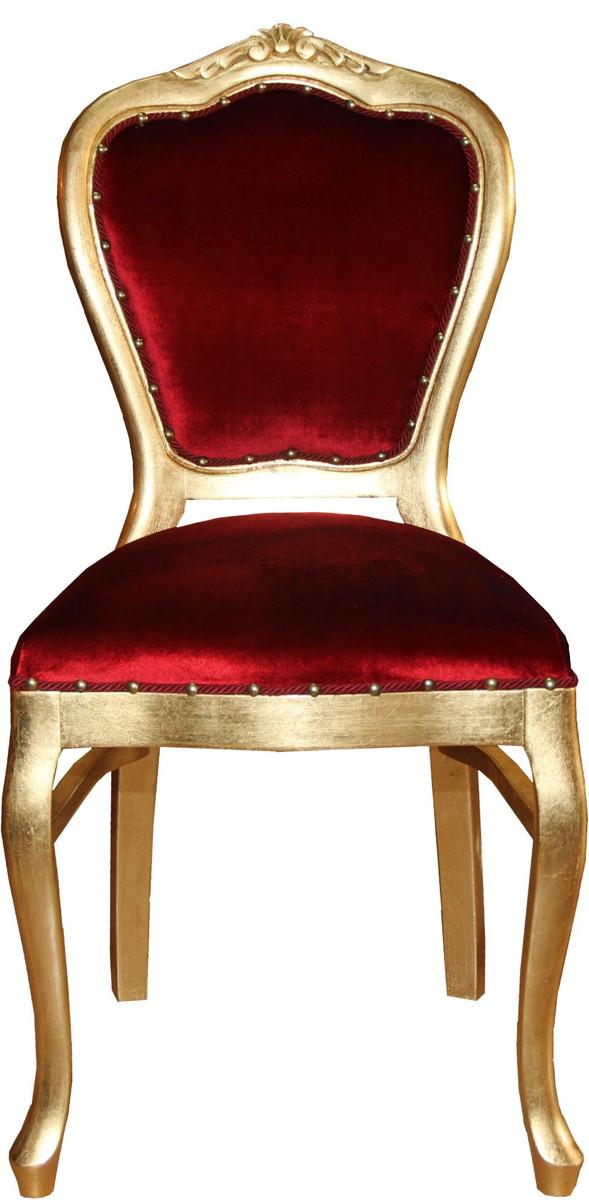 Casa Padrino Barock Luxus Damen Stuhl Bordeaux / Gold - Damen Schminktisch Stuhl - Limited Edition 1