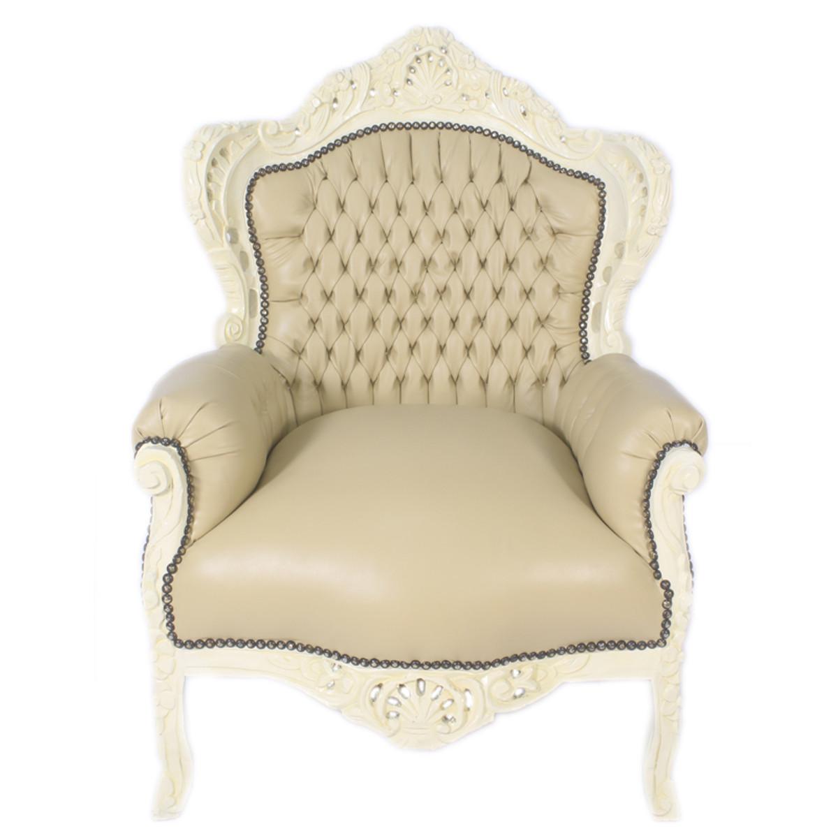 Casa Padrino Barock Sessel King Creme Lederoptik / Creme - Möbel Antik Stil 1