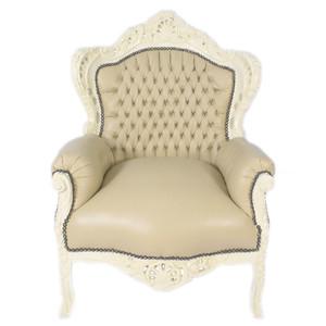Casa Padrino Barock Sessel King Creme Lederoptik / Creme - Möbel Antik Stil