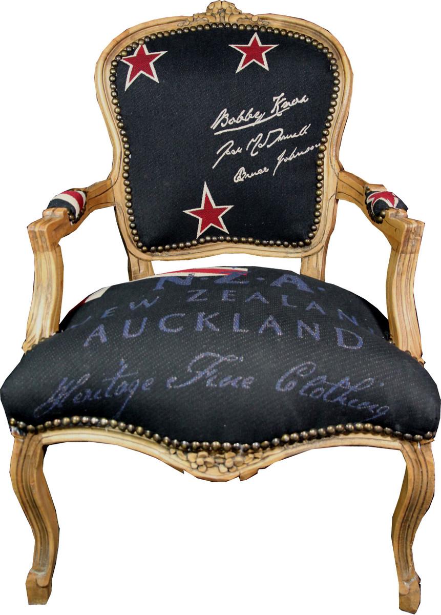 Casa Padrino Barock Salon Stuhl New Zealand / Holzfarbig - Neuseeland Fashion Möbel 1