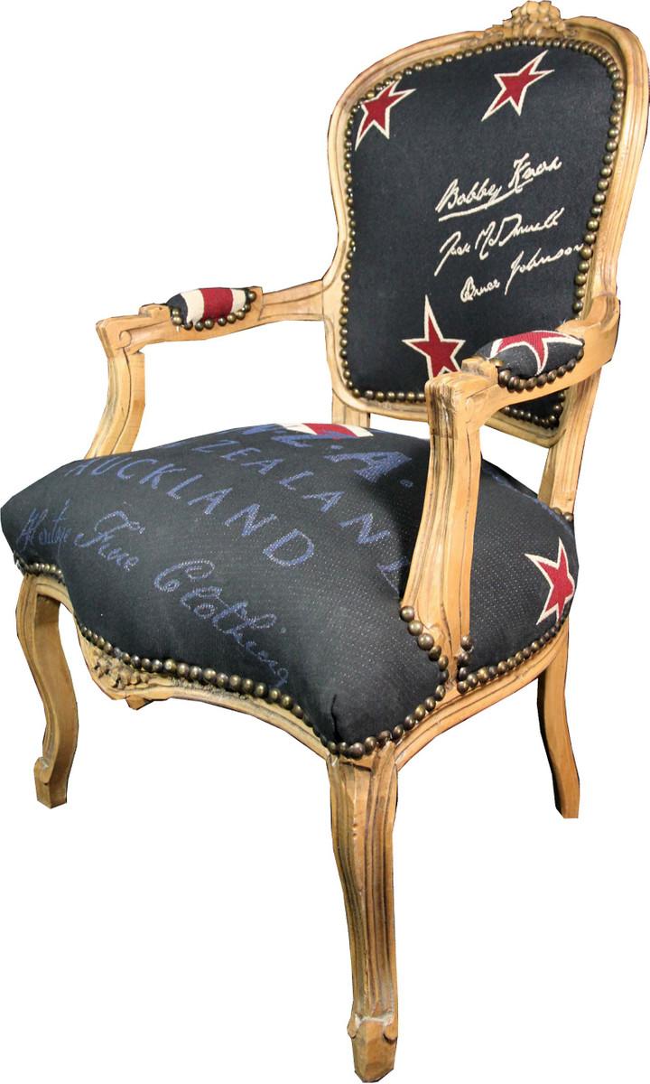 Casa Padrino Barock Salon Stuhl New Zealand / Holzfarbig - Neuseeland Fashion Möbel 3
