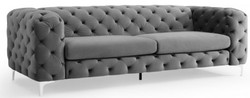 Casa Padrino Chesterfield Sofa in Grau 238 x 97 x H. 73 cm - Modern Chesterfield