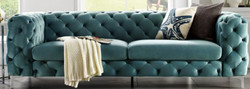 Casa Padrino Chesterfield Sofa in Aqua 238 x 97 x H. 73 cm - Modern Chesterfield