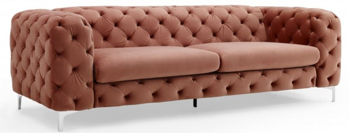 Casa Padrino Chesterfield Sofa in Apricot 238 x 97 x H. 73 cm - Modern Chesterfield 1