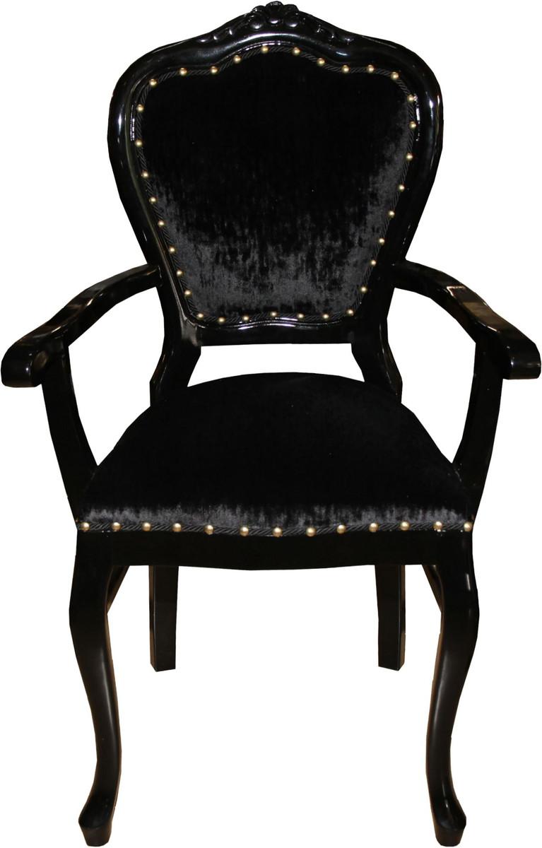 Casa Padrino Barock Luxus Damen Stuhl mit Armlehnen Schwarz / Schwarz - Damen Schminktisch Stuhl - Limited Edition 1